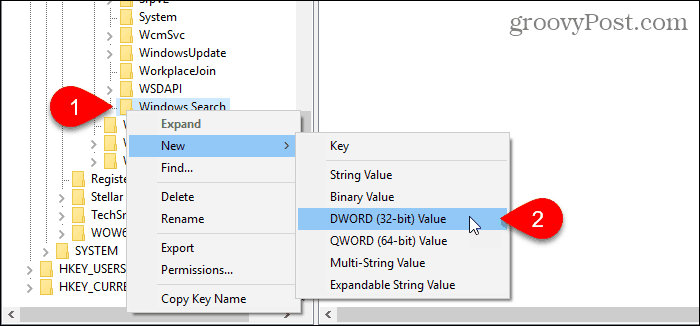 Create a new DWORD value in the Registry Editor