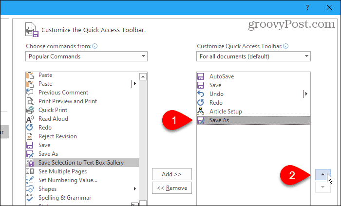 Move commands on the Quick Access Toolbar
