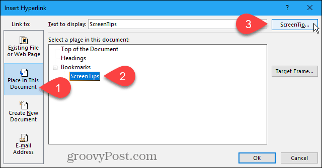 Click ScreenTip on the Insert Hyperlink dialog box in Word
