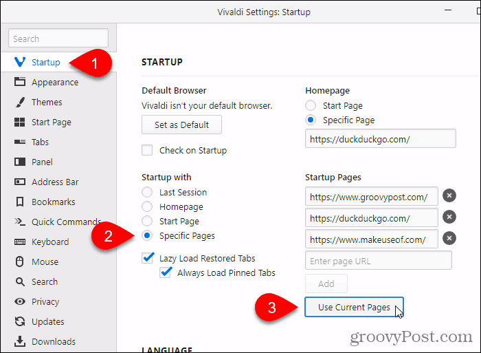 Click Use Current Pages in Vivaldi