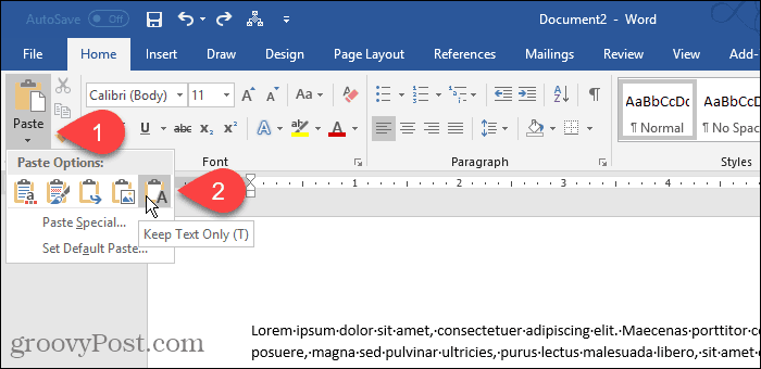 Click Paste, then select Keep Text Only