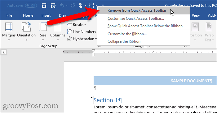 Remove from Quick Access Toolbar