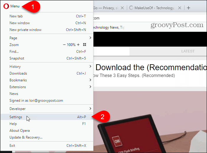 Select Settings in Opera