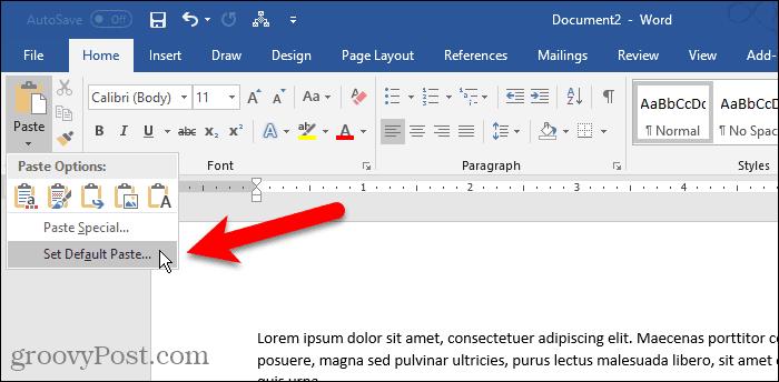 Click Paste, then select Set Default Paste