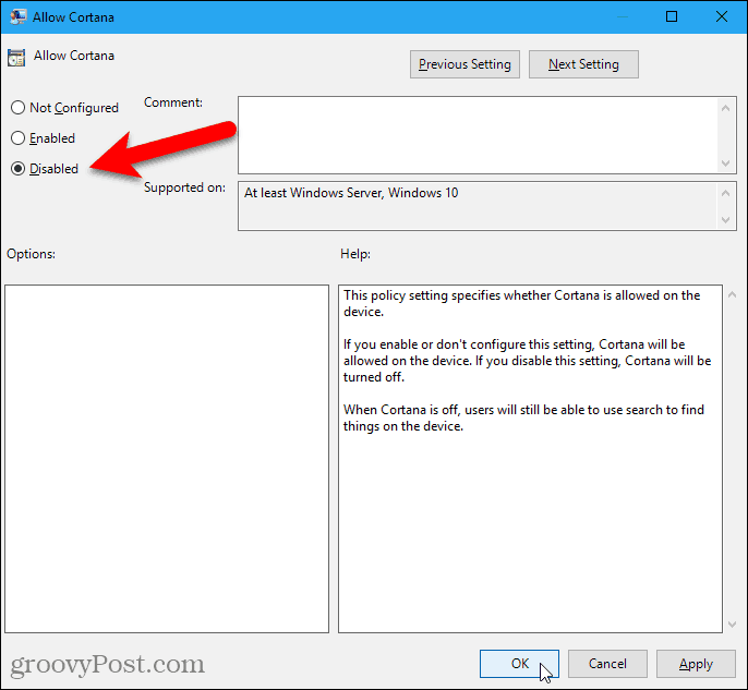 Disable the AllowCortana setting in the Local Group Policy Editor