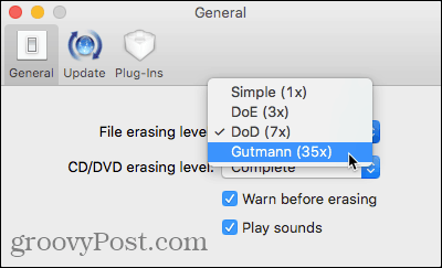 Change the File erasing level
