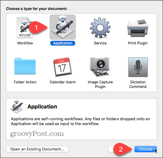 Choose Application as document type in Automator