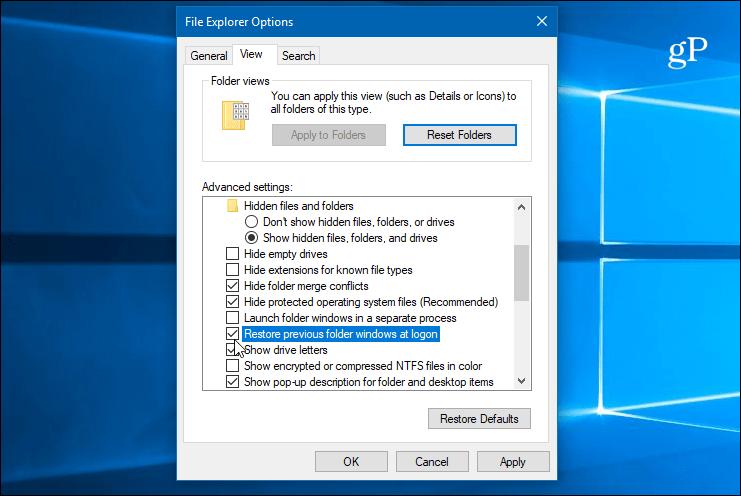 Make Folders Re-Open Automatically When Windows 10 Starts