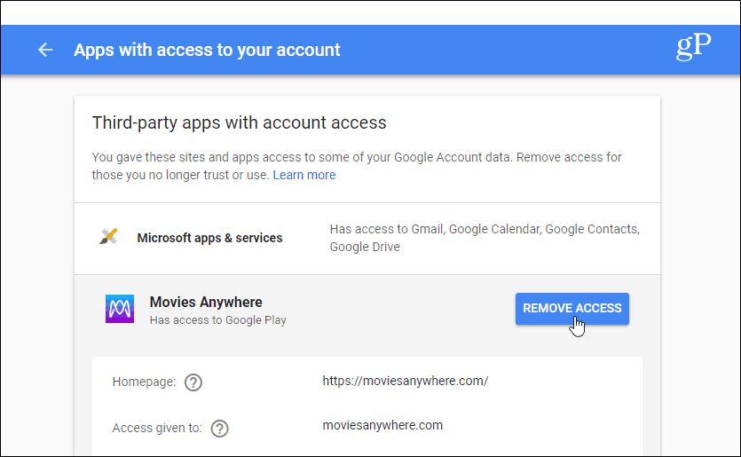 Third-party apps with account access Gmail
