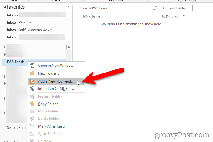 Add a New RSS Feed option in Outlook