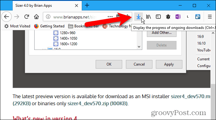 Downloads button shows on toolbar when downloading in Firefox