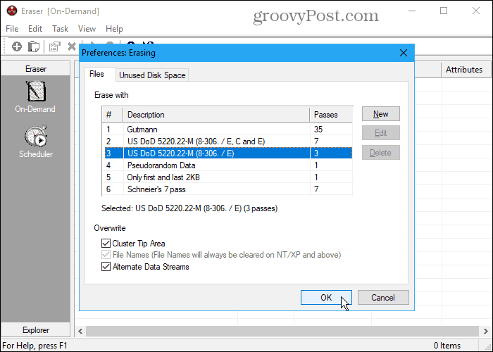 Eraser secure deletion tool for Windows