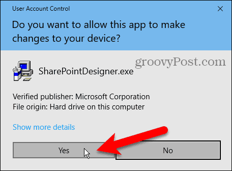 User Account Control (UAC) dialog box for installing Sharepoint Designer 2010