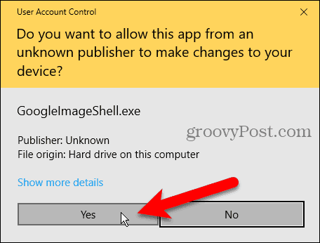 User Account Control (UAC) dialog box