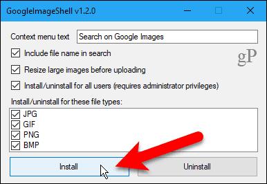 Click Install in GoogleImageShell