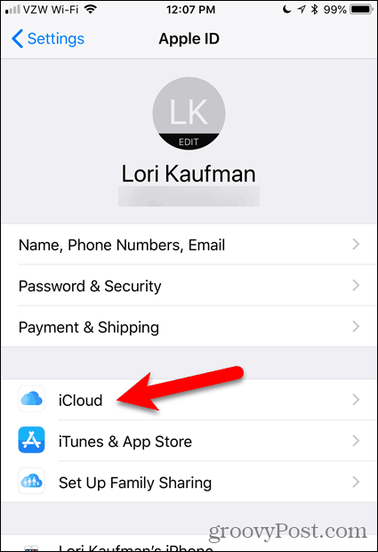 Tap iCloud in the Settings app in iOS
