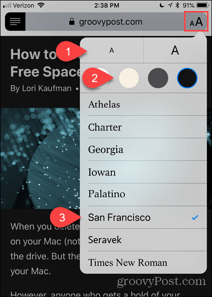 Change font and color in Reader View in Safari for iOS