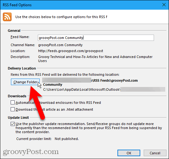 Click Change Folder on RSS Feed Options dialog box in Outlook