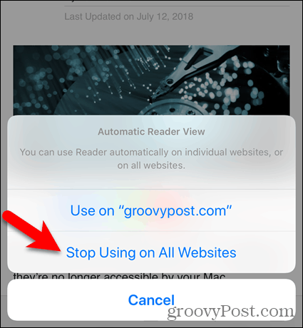 Use on all Websites except the current one in Safari for iOS
