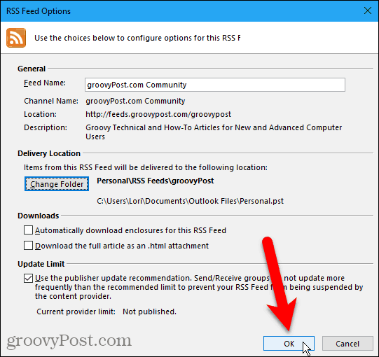 Close the RSS Feed Options dialog box in Outlook