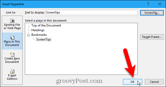Close the Insert Hyperlink dialog box in Word