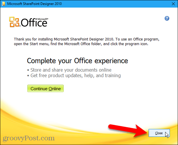 Close the Sharepoint Designer 2010 installation wizard