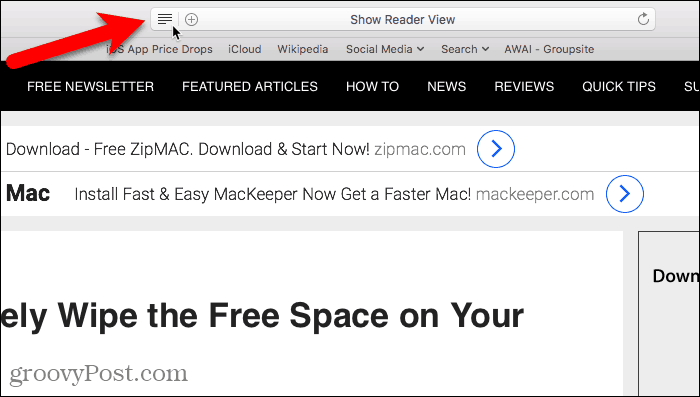 Show Reader View in Safari for Mac