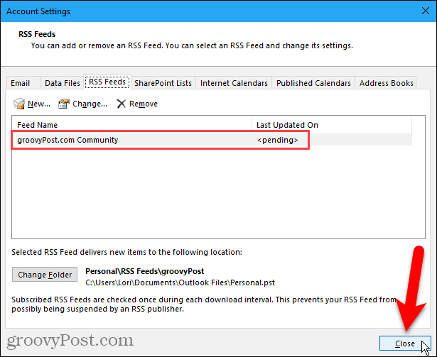 Close Account Settings dialog box in Outlook