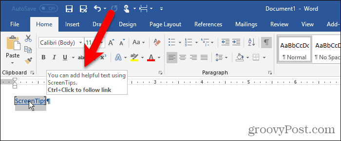 Custom ScreenTip on text in Word