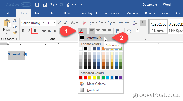 Change formatting on text in Word