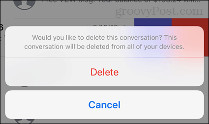 Delete conversation confirmation in iOS
