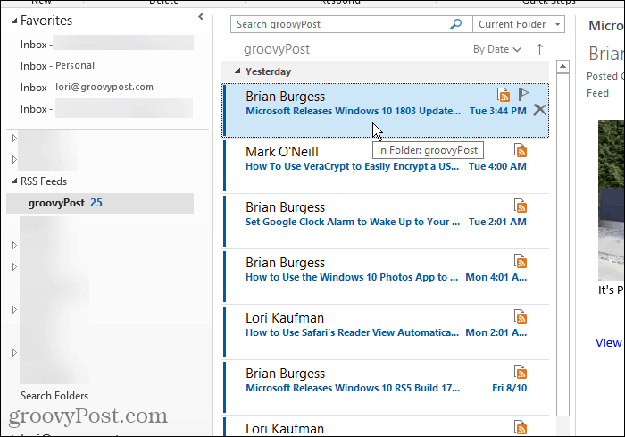 RSS Feeds folder in Outlook