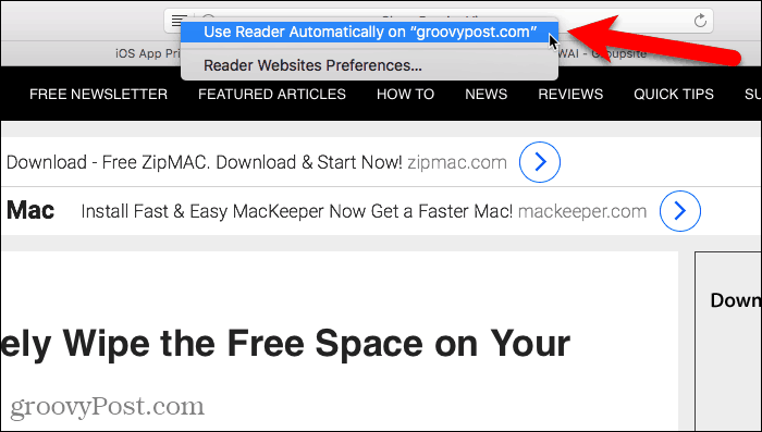 Use Reader Automatically in Safari for Mac