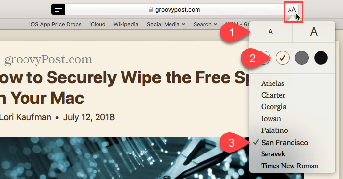 Customize the look of Reader View in Safari for Mac