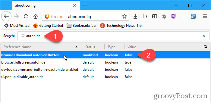 Double-click autohideButton config setting in Firefox