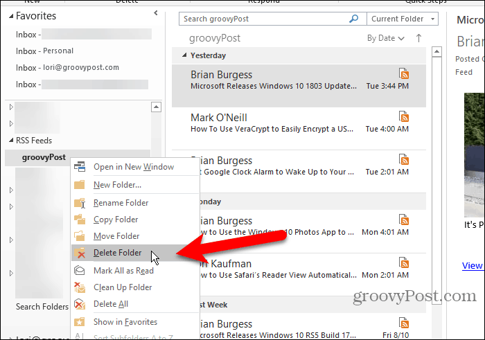Delete an RSS Feeds subfolder in Outlook