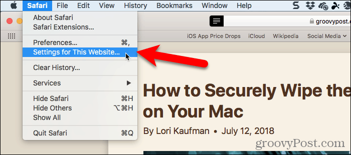 Select Settings for This Website in Safari for Mac