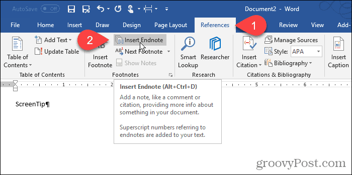 Click Endnote in Word