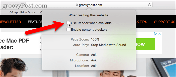 Disable Use Reader When Available in Safari for Mac