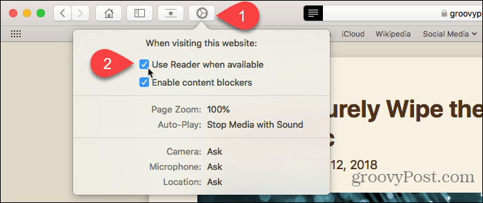 Use Website Preferences button in Safari for Mac