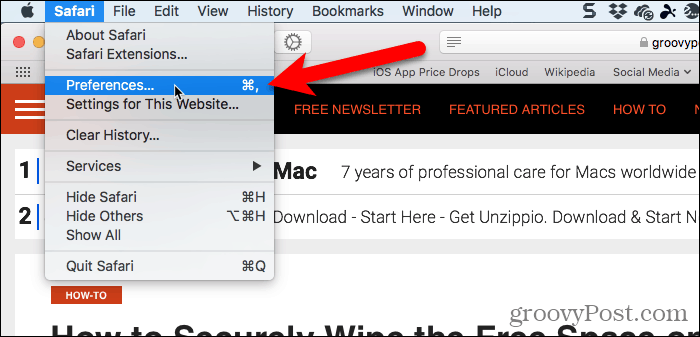 Go to Safari > Preferences in Safari for Mac