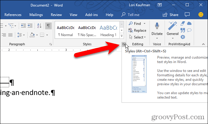 Open the Styles pane in Word