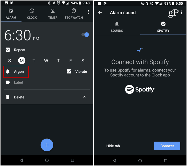 Google Alarm Clock Spotify