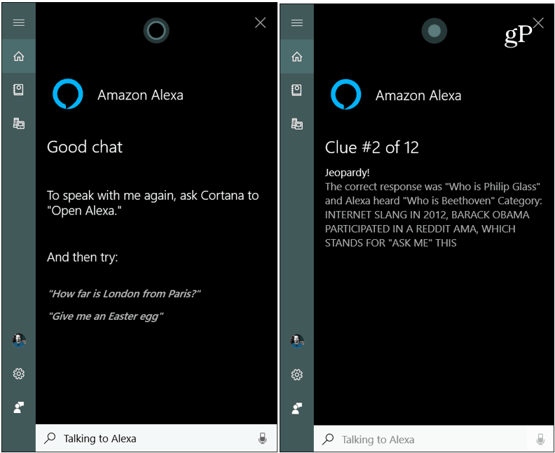 Using Alexa Skills via Windows 10