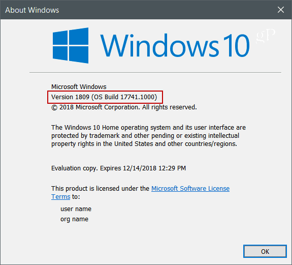 Winver Windows 10 Version 1809