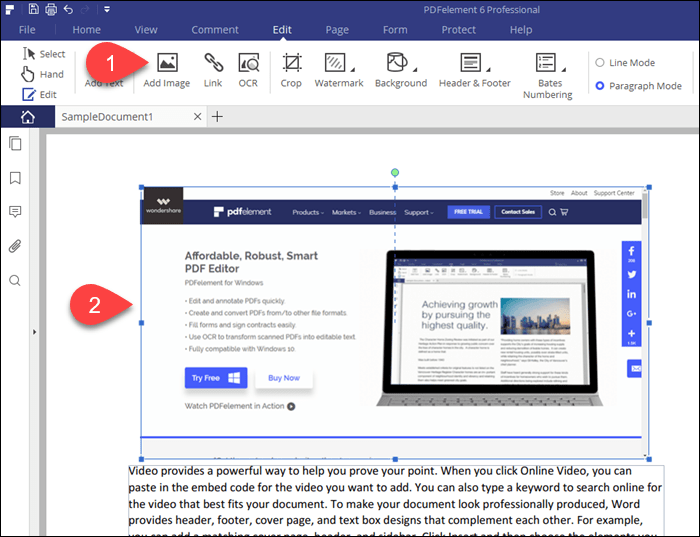 Add an image to a PDF file in PDFelement 6