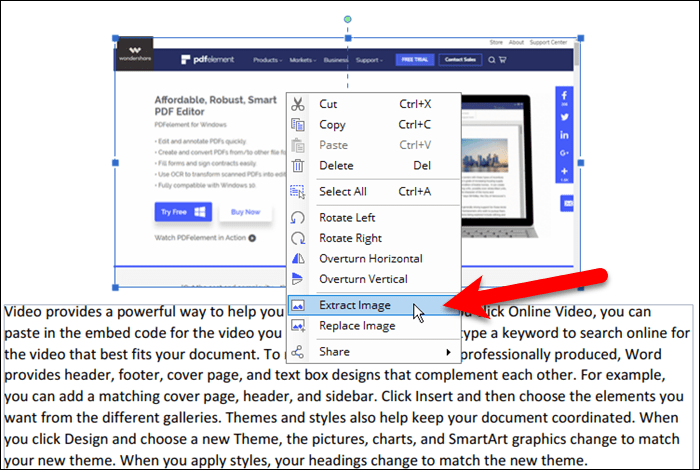 Extract an image from a PDF file in PDFelement 6