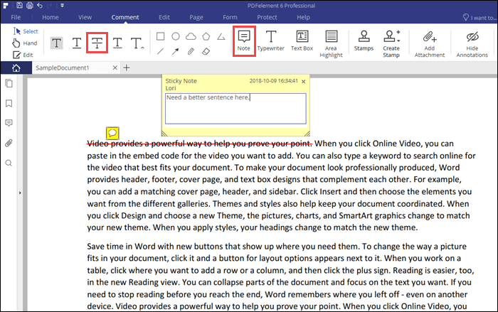 Comment in a sticky note with strike-through text in PDFelement 6