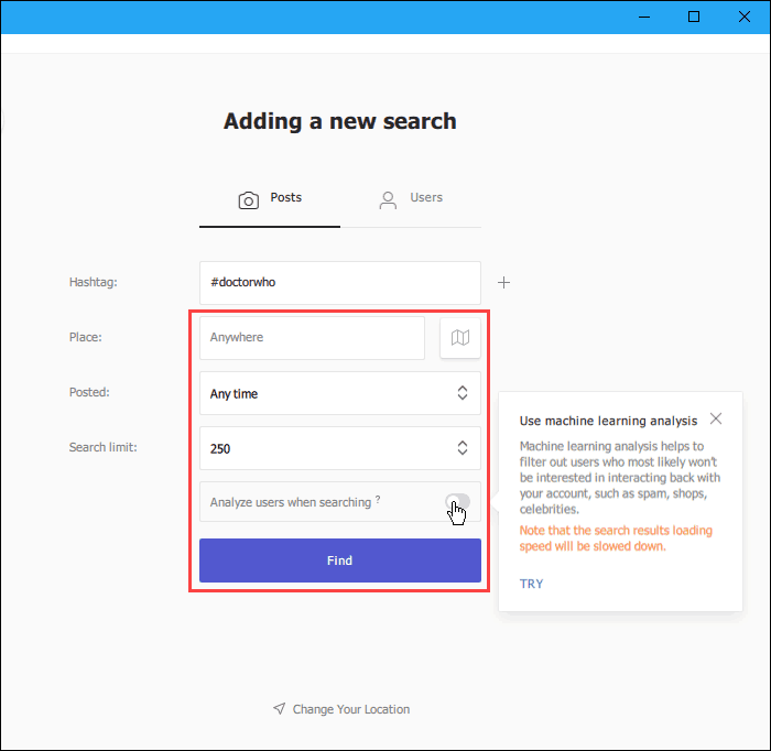 Enter search criteria when searching for Posts in Combin