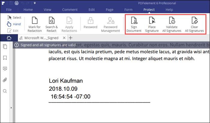 A signed PDF file in PDFelement 6